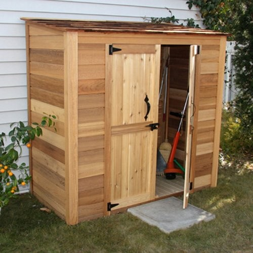 Outdoor Living Today GGC63SR Grand Garden Chalet 6 X 3 Ft Storage Shed Traditional Sheds on lockable trash bin