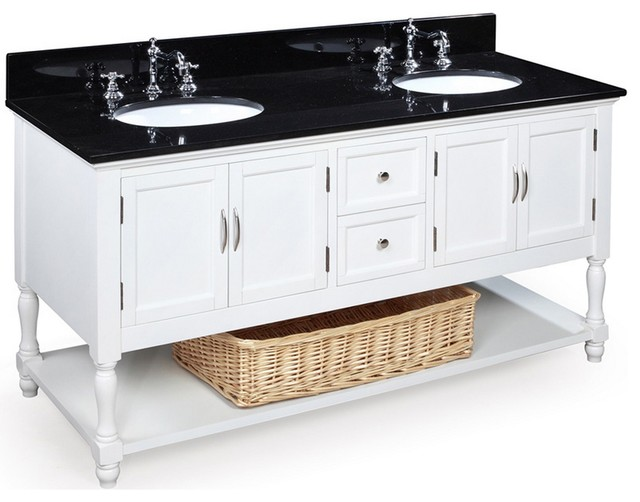 Beverly 60 In Double Sink Bath Vanity Black White