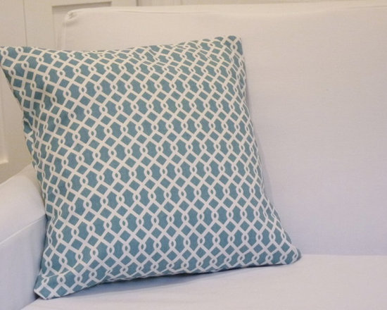 """17""""x17"""" Lattice Throw Pillow Cover - Turquoise - This fun throw pillow cover brings great colour and pattern to any space! 17"""" x 17"""". Heavy cotton, Turquoise and white, fold-back opening."""