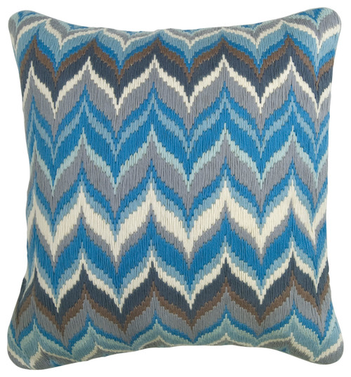 blue hues, stitching, embroidery, cushion, pillow, bargello, bargello patterns, embroidery patterns, needlepoint, counted thread patterns,