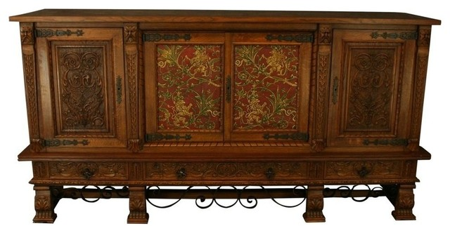 Massive Consigned Vintage French Oak Sideboard traditional-buffets-and-sideboards