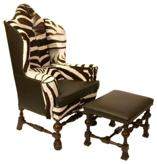 Zebra Hide William And Mary Wing Chair And Ottoman