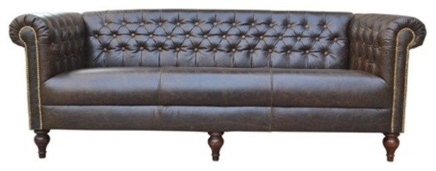 Chesterfield Dark Brown Tufted Leather Sofa Contemporary