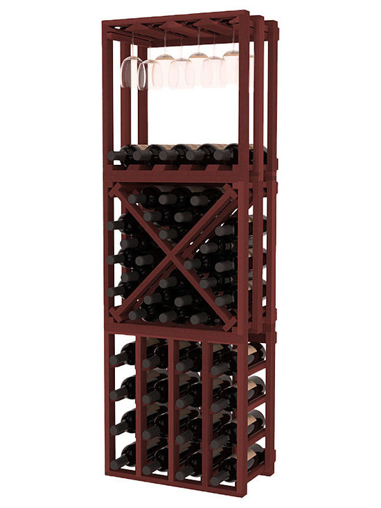 Lattice Stacking Cube - 3 Piece Set in Redwood with Cherry Stain - Designed to stack one on top of the other for space-saving wine storage our stacking cubes are ideal for an expanding collection. This 3-piece set comes with (1) X-Cube, (1) Stemware Cube and (1) 4 Column Cubicle. Use as a stand alone rack in your kitchen or living space or pair with more stacking cubes as your wine collection grows.