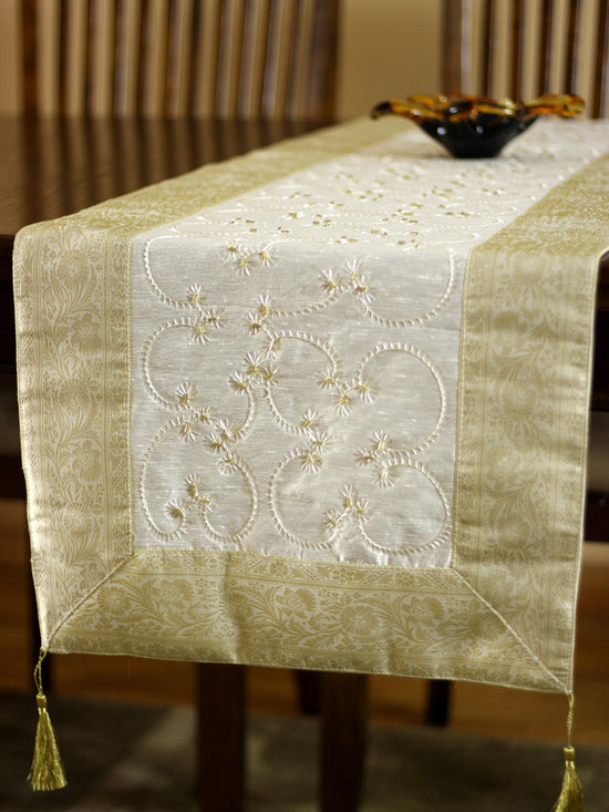 """Elegant Table Runners - Elegant """"Beige"""" Table Runner. Embroidered by hand in India. Dupion fabric. Perfect decor idea to embellish your room."""