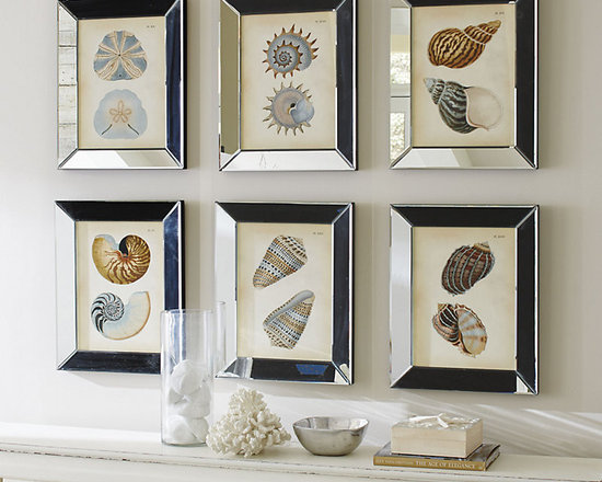 Ballard Designs - Shells in Mirror Frame Art - Created from antique bookplates. Glass front. A touch of the coast you can enjoy all year round. These softly colored studies turn seashells into modern art. Each is framed in deep beveled mirror that reflects the colors from every angle as it catches the light. Shells Frame Art features: . .