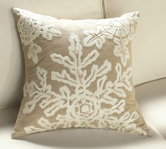 Neutral Snowflake Embroidered Pillow Cover - contemporary ...