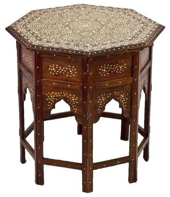 Moroccan Bone Inlay Side Table mediterranean-side-tables-and-end-tables