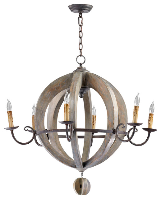 French Country Round Barrel Carved Wood Limed Oak 6 Light Chandelier transitional-chandeliers