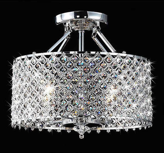 Chrome/Crystal 4-light Round Ceiling Chandelier contemporary-chandeliers