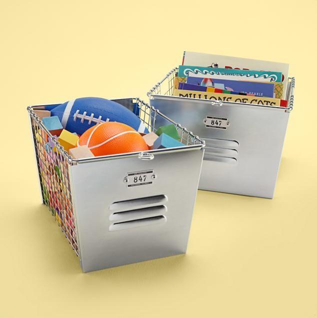 Kids Metal Locker Storage Baskets | Land of Nod eclectic-toy-organizers