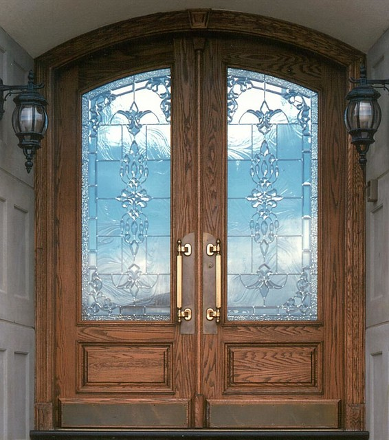 Double Rustic Windows : Double arc panel custom glass rustic front doors