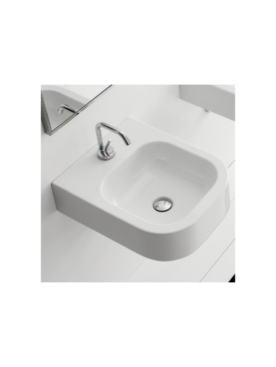 "Scarabeo - Contemporary Square White Ceramic Wall Mounted or Vessel Sink - Designed and manufactured in Italy by Scarabeo. Square contemporary wall mounted or above counter vessel sink includes single faucet hole but comes without overflow. Made of high quality white ceramic. Sink dimensions: 15.80"" (width), 5.30"" (height), 19.70"" (depth)"