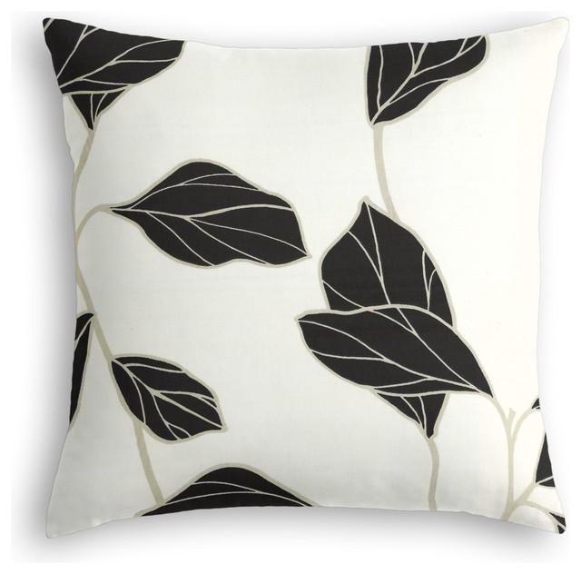 Modern Leaf Throw Pillow : Black & White Modern Leaf Custom Throw Pillow - Modern - Decorative Pillows - by Loom Decor
