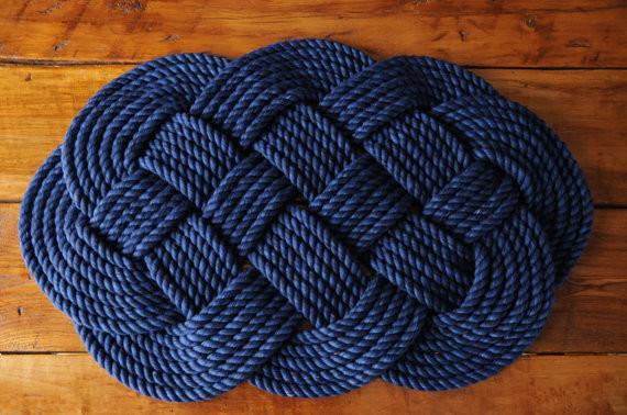 Navy Cotton Rope Bath Mat By O Y Knot Beach Style Bath