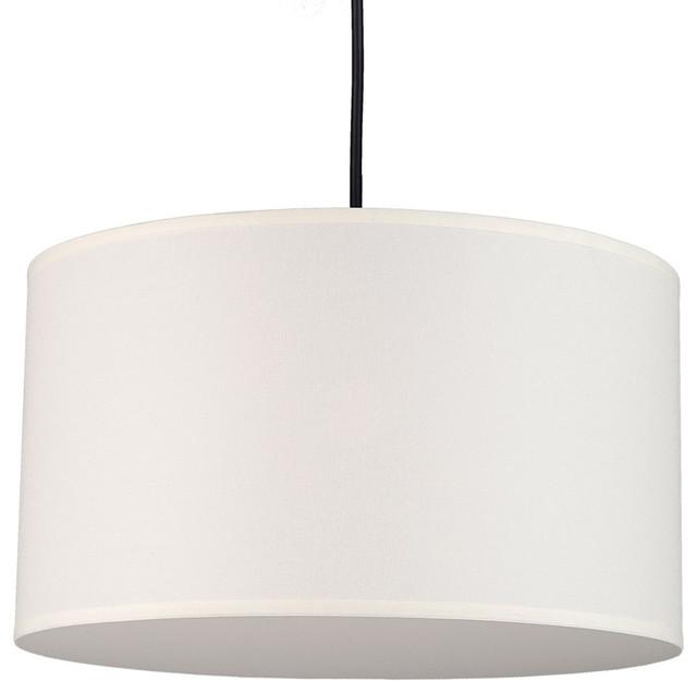 Meridian Medium Pendant Lamp, Natural Linen Shade contemporary-pendant-lighting