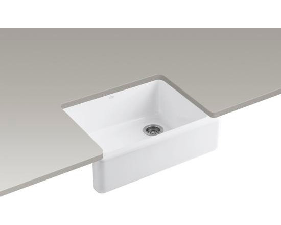 KOHLER - Whitehaven Self-Trimming Apron Front Single-Basin Sink with Tall Apron - KOHLER Whitehaven Self-Trimming, Apron Front Single-Basin Sink with Tall Apron