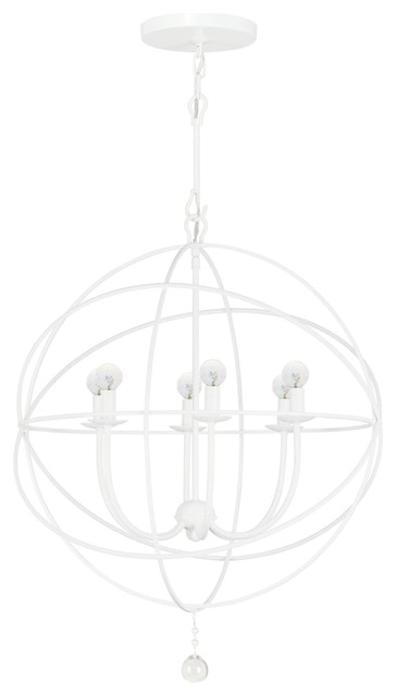 Crystorama Solaris 1 Tier Chandelier in Wet White traditional-chandeliers