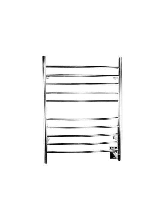 Hudson Reed - Radiant Curved Hardwired Heated Towel Rail 32 x 24 Brushed or Polished - With the stunning Radiant curved heated towel rail, you can introduce designer style into your bathroom or kitchen, while keeping it warm and inviting at all times.This is a versatile towel warmer with a simple but attractive design which is sensational fitted in either modern or traditional bathrooms and kitchens.This towel heater has a wonderful heat output of 512 BTUs (150 Watts) per hour, which will efficiently heat your space to a warm and comforting temperature. The Radiant heated towel rail will also keep all your bath, beach and hand towels warm and dry, ready for you to use in an instant.Choose from a brushed or polished chrome finish to perfectly match your interior. Amba Radiant Curved Heated Towel Rail 32 x 24 Details  Dimensions: (H x W x D) 32 (813mm) x 24 (610mm) x 6 (153mm) Output: 512 BTUs Watts: 150 Amps: 1.30 Voltage: 110-120 (50/60 Hz) 10 curved horizontal bars All bars heat up, vertical and horizontal Easy installation: all mounting hardware included Built-in On/Off switch Heats fast: no liquid Concealed wiring to wall Manufactured from high quality, 304 stainless steel Minimal power consumption: equivalent to a couple of light bulbs UL Certification (for Canada and the USA) 2 year limited warranty 7-day, 24-hour programmable timer available (ATW-T24)  Please note: there is a 10 day lead time for the delivery of this towel warmer.