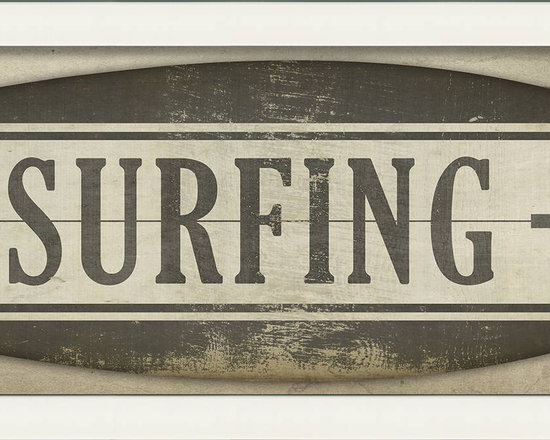 """The Artwork Factory - """"Surfing"""" (Surfboard) Print - Surf City can be anywhere you hang this framed, museum-quality print. And because it's printed on fade-resistant paper, it can bask in the sun for years and still look great."""