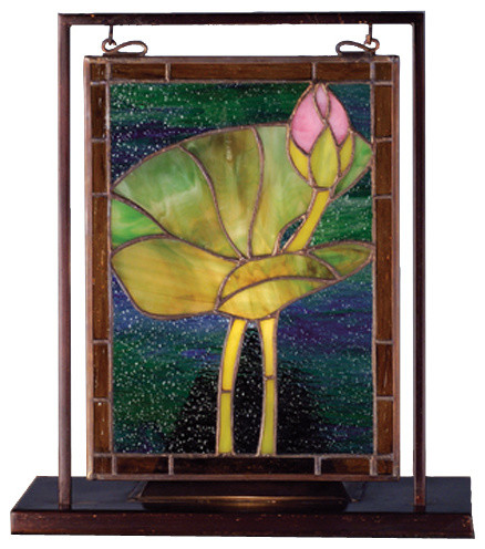 9.5 Inch W x 10.5 Inch H Waterlily Mini Windows contemporary-stained-glass-panels