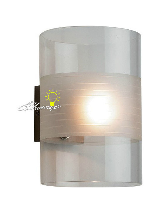 Modern Clear and Depolished Glass Wall Sconce in Chrome Finish - Modern Clear and Depolished Glass Wall Sconce in Chrome Finish
