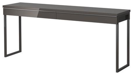 BESTÅ BURS Desk, High Gloss Gray modern-desks-and-hutches