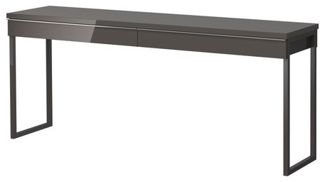 BESTÅ BURS Desk, High Gloss Gray modern desks