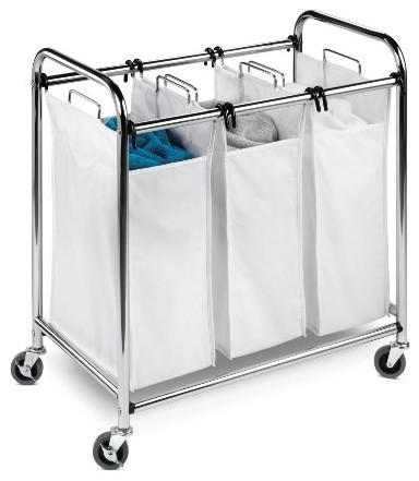 Honey-Can-Do Heavy-Duty Triple Laundry Sorter, Chrome And White contemporary-hampers