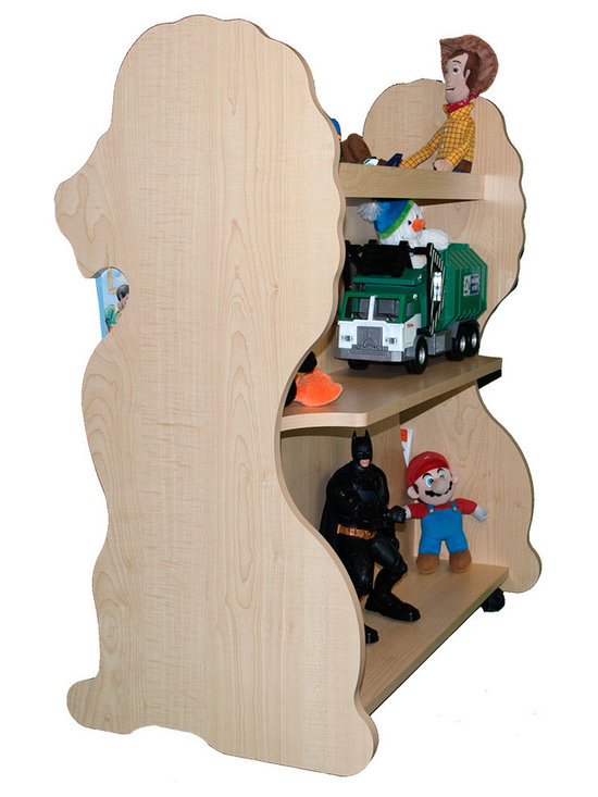 Mobile Baby Bookcase - Mobile Double Sided Bookcase Lion Natural Maple: his adorable mobile child's bookcase is perfect for to store all your child's favorite books and toys for years to come. The sylish design and wheels on the bottom make the  bookcase chic yet functional enough for any trendy home.