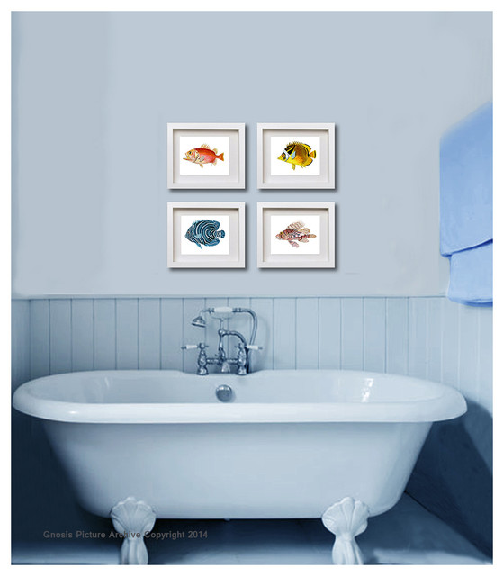 Set of 6 vintage fish bathroom decor wall art prints 8x10 for Bathroom design ideas 8x10