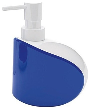 Unique Free Standing Soap Dispenser, White/Blue contemporary-soap-and-lotion-dispensers
