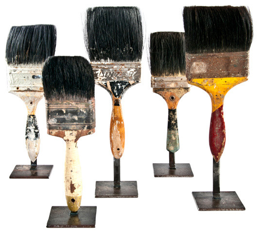 Vintage Paint Brushes on Stands, Set of 5 industrial-home-decor