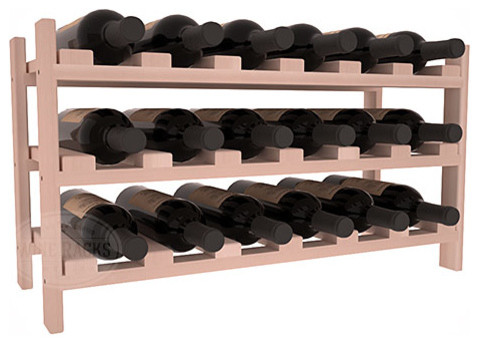 18 Bottle Stackable Wine Rack in Redwood with White Wash Stain traditional-wine-racks