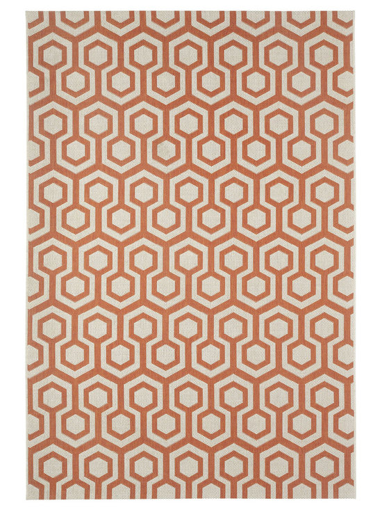 """Finesse Honeycomb rug in Persimmon - An esteemed """"Capel Anywhere"""" rug collection woven on precision machine looms in Europe. These versatile rugs can be used in high traffic areas indoors - like kitchens and sunrooms - or to dress up covered porches and decks outside."""
