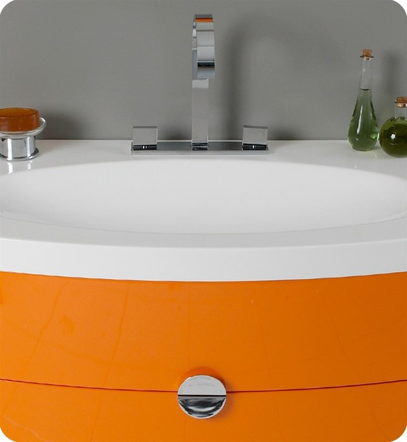 "36"" Energia Modern Bathroom Vanity with Mirror - Orange (FVN5092OR) modern"