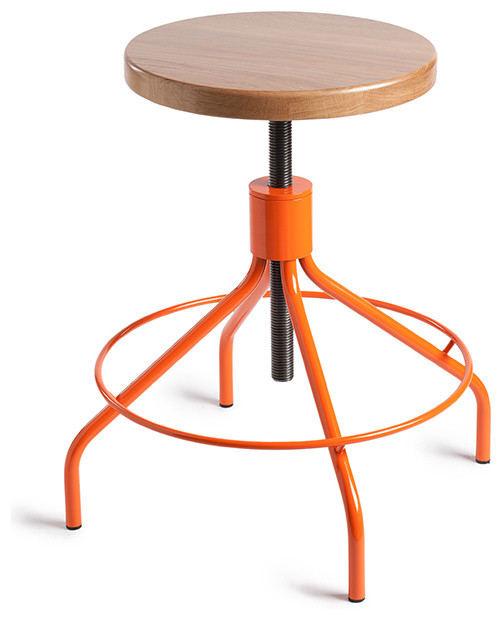Environment Sputnik Stool Orange Natural Modern Bar