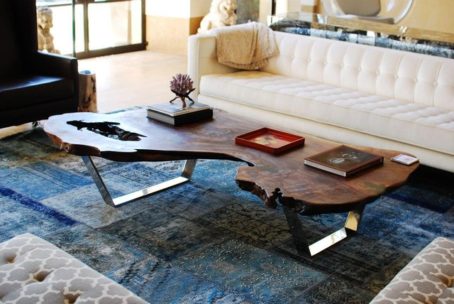 Claro Walnut and Stainless Coffee Table modern side tables and accent tables