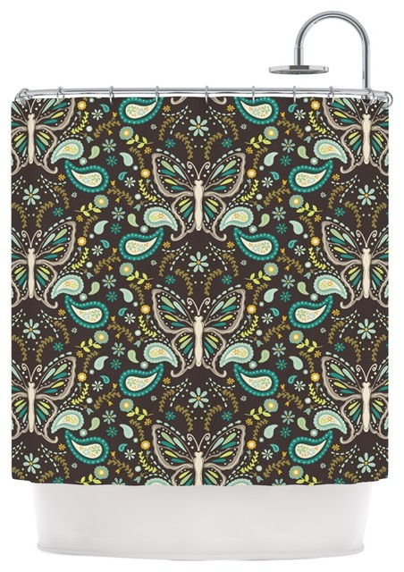 Suzie Tremel Butterfly Garden Brown Teal Shower Curtain Contemporary Shower Curtains By