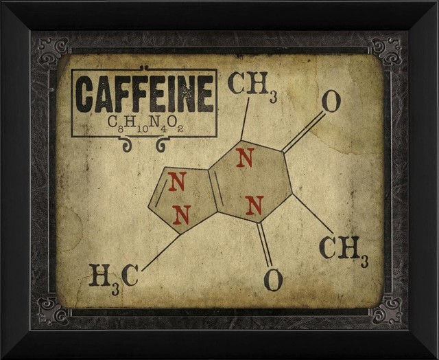 Caffeine Molecule Framed Artwork contemporary-prints-and-posters