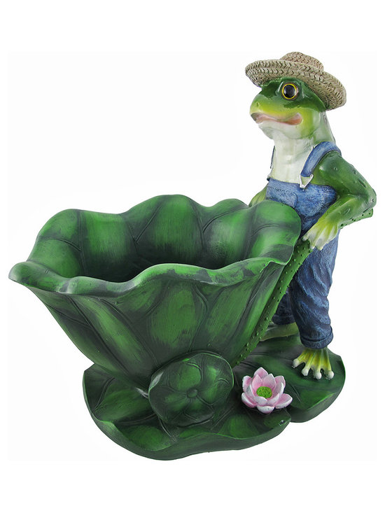 Zeckos - Easy Being Green Gardener Frog Planter - This gardening frog has quite the green thumb...among many other green limbs. The charming green critter wears blue suspenders and a straw hat while he pushes a lily pad wheelbarrow across a flowering lily platform. Plant some flowers or any other vegetation in the little amphibian assistant's wheelbarrow with a 7 inch diameter and 4 inch depth and give him some work to do in the garden. This adorable planter is made from a durable cold cast resin material that will not rust or deteriorate in the weather. The entire croaking figure measures 13 1/2 inches long, 13 inches tall, and 10 inches wide. This charming piece is a useful gardening pot with an animated froggy accent that will steal the heart of any frog lovers.