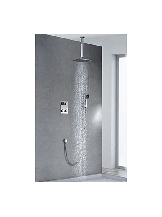 Shower Faucets - Chrome Finish - Contemporary Thermostatic LED Digital Display Brass 8 inch Square Showerhead & Handshower--FaucetSuperDeal.com