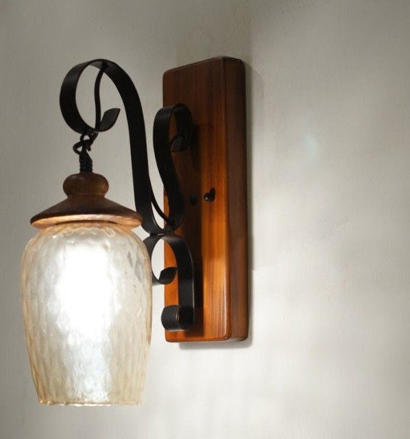 Wall Sconces Nyc: Antique Depolished Glass Shade And Wood Canopy Wall Sconce