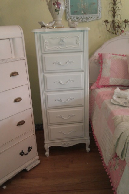 Vintage French Provincial Lingerie Chest White Shabby Chic