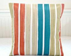 teal blue burnt orange beige white stripe by LittleJoobieBoo