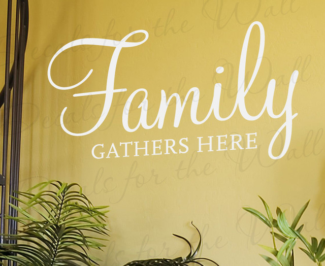 Wall Decal Art Sticker Quote Vinyl Lettering Family Gathers Here