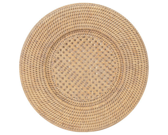 White Round Rattan Plate Charger -