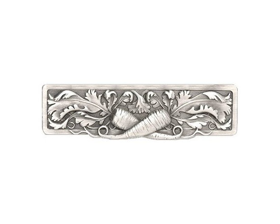 """Inviting Home - Leafy Carrot Pull (antique pewter) - Hand-cast Leafy Carrot Pull in antique pewter finish; 5""""W x 1-3/8""""H; Product Specification: Made in the USA. Fine-art foundry hand-pours and hand finished hardware knobs and pulls using Old World methods. Lifetime guaranteed against flaws in craftsmanship. Exceptional clarity of details and depth of relief. All knobs and pulls are hand cast from solid fine pewter or solid bronze. The term antique refers to special methods of treating metal so there is contrast between relief and recessed areas. Knobs and Pulls are lacquered to protect the finish."""