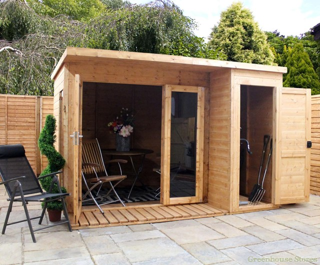 Cotswold 10x8 modern garden room with side shed prefab for Prefabricated garden rooms