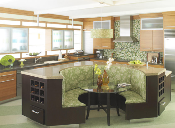 Kitchen island with booth seating house furniture - Kitchen table booths ...